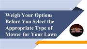 Weigh Your Options Before You Select Type of Mower for Your Lawn