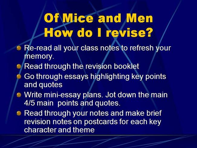 possible essay questions for of mice and men Notes & questions: essay planning:  if possible notice that before the quotation,  of mice and men: persuasive essay title.