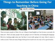 Things to Remember Before Going For Teaching in China