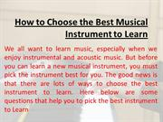 How to choose Best musical Instrument to learn