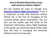 How to Resolve Reservation Issues with American Airlines Flights