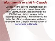 Monuments to visit in Canada
