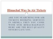 Air Tickets Booking Services in Shimla