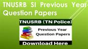 TNUSRB SI Constable Previous Year Question Papers