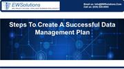 Steps To Create A Successful Data Management Plan