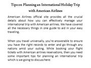 Tips on Planning an International Holiday Trip with American Airlines
