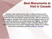 Best Monuments to Visit in Canada