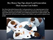 Rey Denzo Top Tips about Lead Generation That Anyone Can Follow