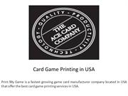 Card Game Printing in USA