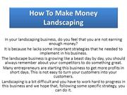How To Make Money Landscaping