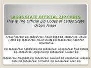 Lagos State Area Zip codes - Lagos State Official Zip Codes