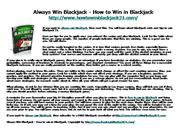 Always Win Blackjack - How to Win in Bla