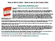 How to Win in Slots - How to win at the