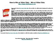 How to Win at Video Slots - Win at Video