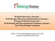 Website Directory Europe, Web Design Directory Submission in Europe, E