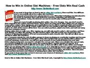 How to Win in Online Slot Machines - Free Slots Wi