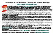 Tips to Win at Slot Machines - How to Win on Slot