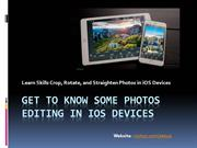 Get to know some Photos editing in iOS Devices
