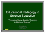 Educational Pedagogy in Science Educatio