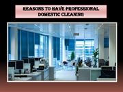 Reasons to Have Professional Domestic Cleaning