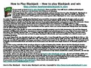 How to Play Blackjack – How to play Blackjack and