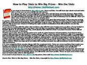 How to Play Slots to Win Big Prizes - Win the Slot