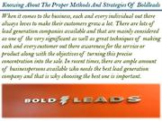 Knowing About The Proper Methods And Strategies Of Boldleads