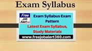 Exam Syllabus Exam Pattern- Latest Exam Syllabus, Study Materials