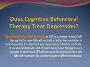 Does Cognitive Behavioral Therapy Treat Depression