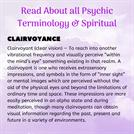 Read About all Psychic Terminology & Spiritual