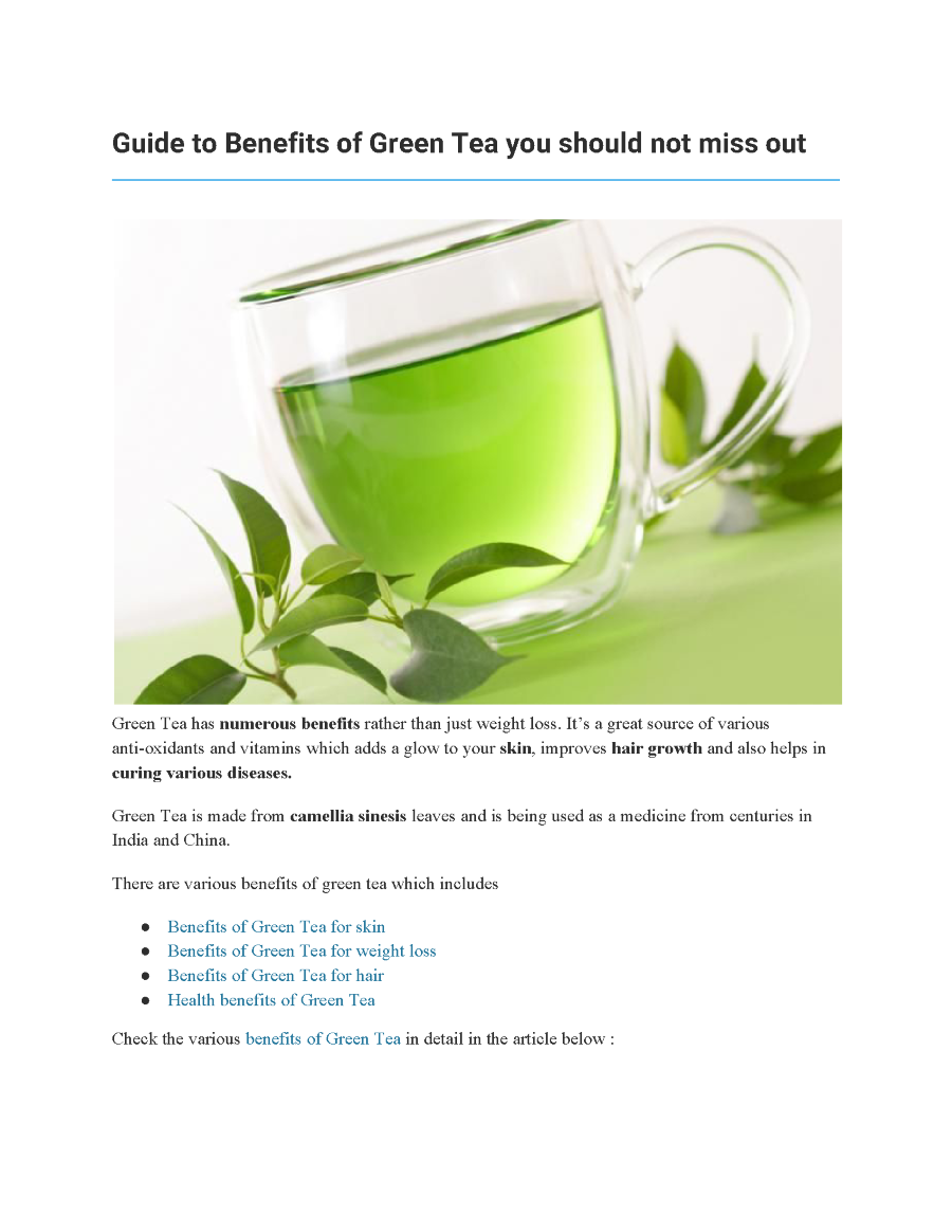 guide to benefits of green tea you should not miss out