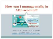 How can I manage mails in AOL account