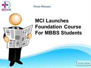 MCI Launches Foundation Course For MBBS Students