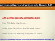 Advanced Networking Specialty Dumps Pdf 2019 Latest