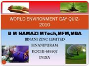 WORLD ENVIRONMENT DAY QUIZ 2010