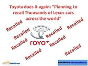 Toyota does it again Planning to recall