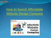 How to Search Affordable Website Design Company