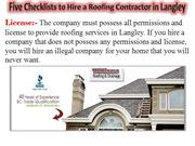 Five Checklists to Hire a Roofing Contractor in Langley