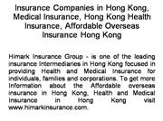 Health and Medical Insurance in HongKong