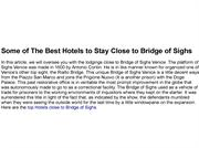 Some of The Best Hotels to Stay Close to Bridge of Sighs