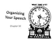Organizing Your Speech - Chapter 10