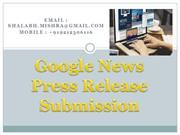 Google News Press Release Submission