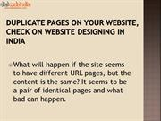 Duplicate Pages on your Website, Check on Website Designing in India