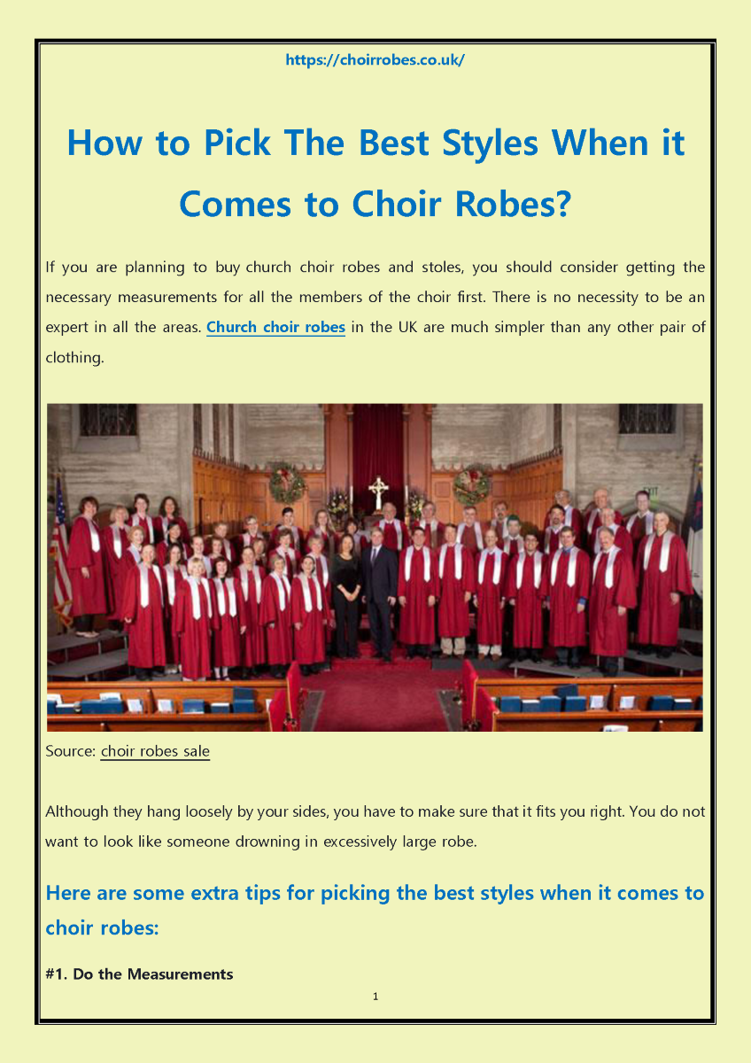 How To Pick The Best Styles When It Comes To Choir Robes Authorstream