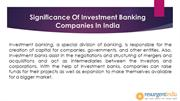 Significance Of Investment Banking Companies In India