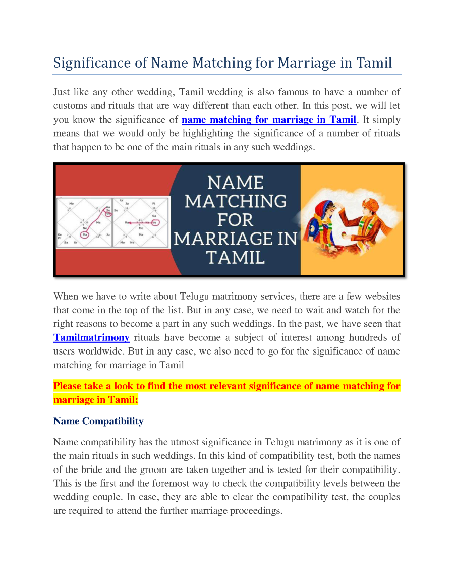 Significance of Name Matching for Marriage in Tamil