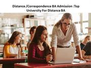 Distance Correspondence BA Admission Top University For Distance BA