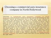 Choosing a commercial auto insurance company in NorthHollywood