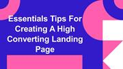 Essentials Tips For Creating A High Converting Landing Page