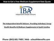 How to Get a Free South Carolina Medicare Supplement Plans Quote